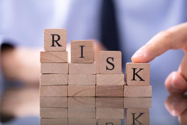 Risikowort mit abnehmendem Chart auf dem Schreibtisch – Foto