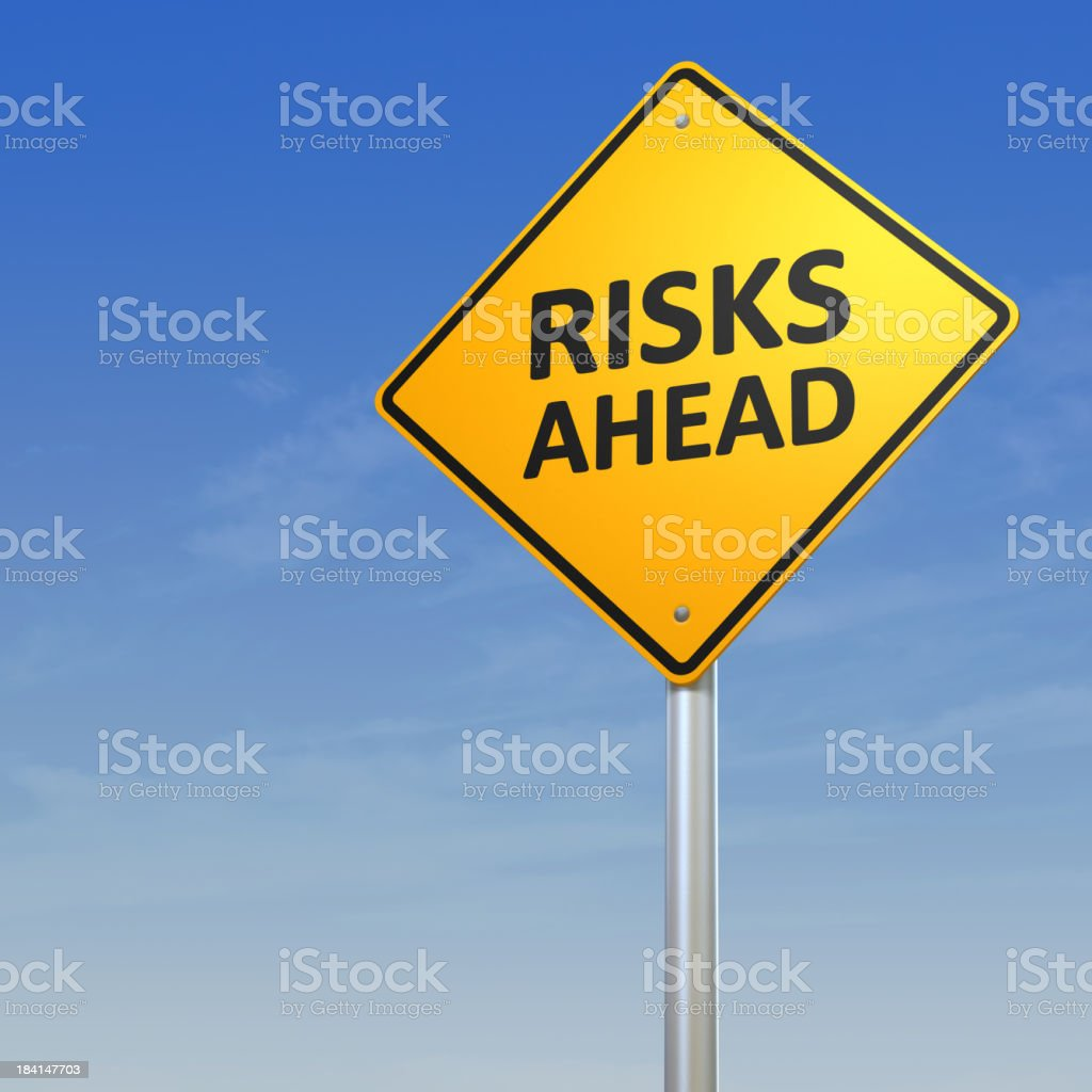 Risks Ahead Warning Sign stock photo