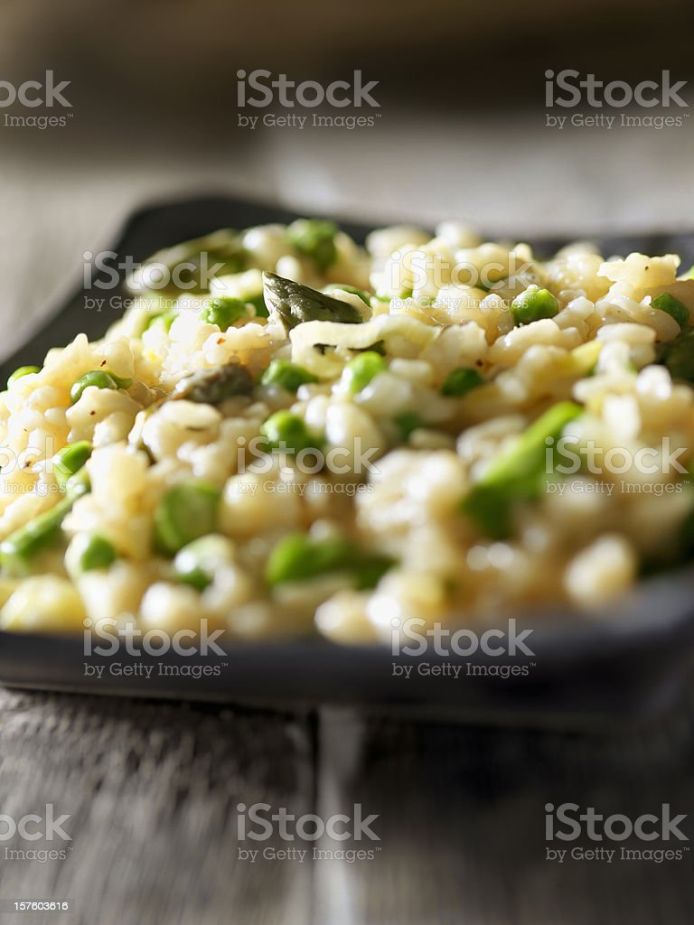 Risotto Primavera with Asparagus stock photo