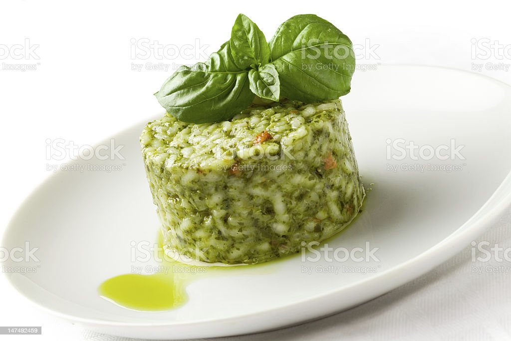 Risotto with Basil stock photo