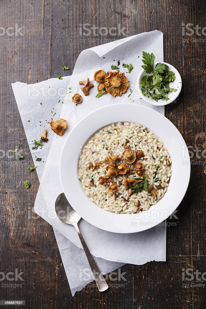 Risotto with chanterelles stock photo