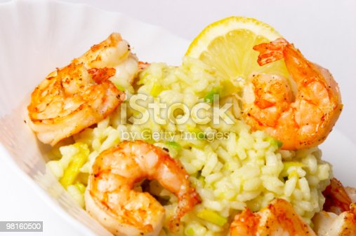 Risotto With Fried Prawns And Avocado Stock Photo & More Pictures of Arrangement