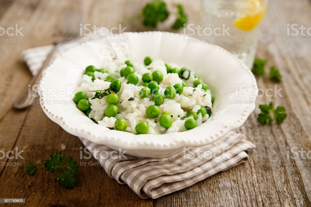 Risotto with peas stock photo