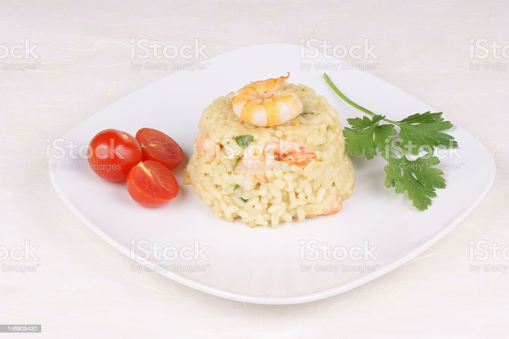 Risotto with shrimps royalty-free stock photo