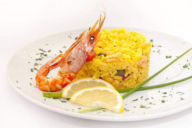 Risotto with shrimps stock photo