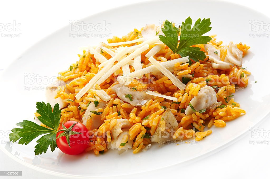 Risotto with trout meat royalty-free stock photo