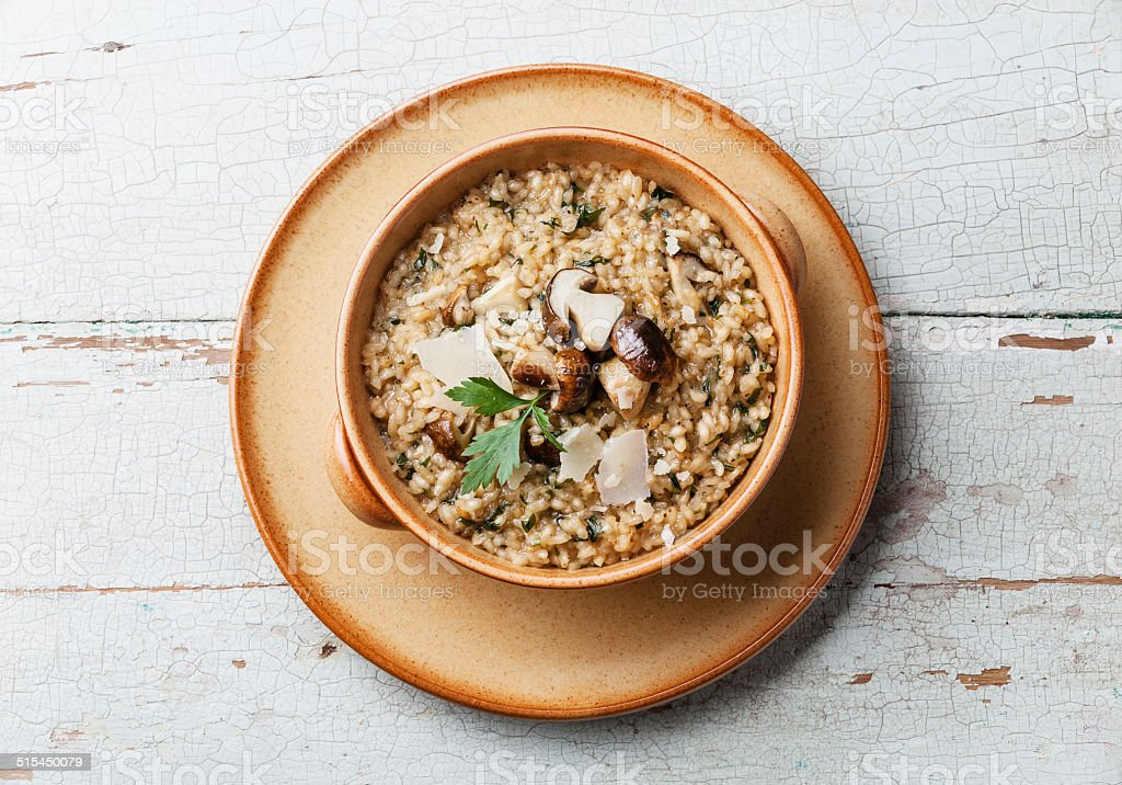 Risotto with wild mushrooms stock photo