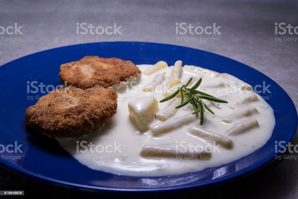 Rissole From Chicken Meat With Young Beans And Cream Sauce Stock