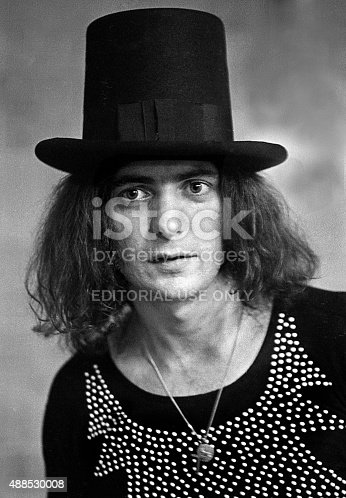 West Palm Beach, FL - JUNE 17, 1973 Deep Purple guitarist Ritchie Blackmore models a top hat before performing in concert.