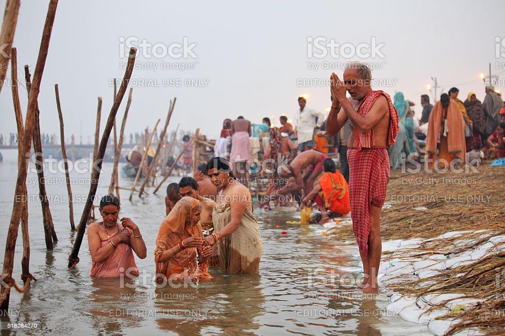Ritual Bathing During Festival Maha Kumbh Mela At Ganges ...