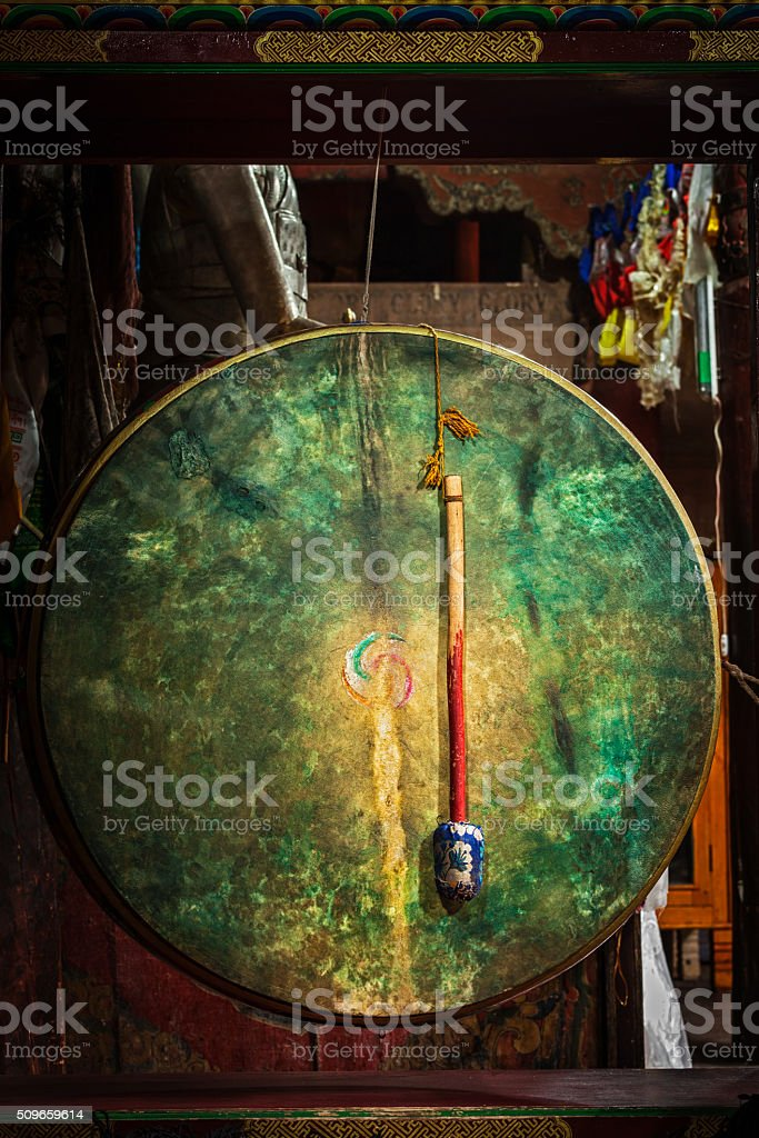 Ritual drum in Hemis monastery. Ladakh, India stock photo