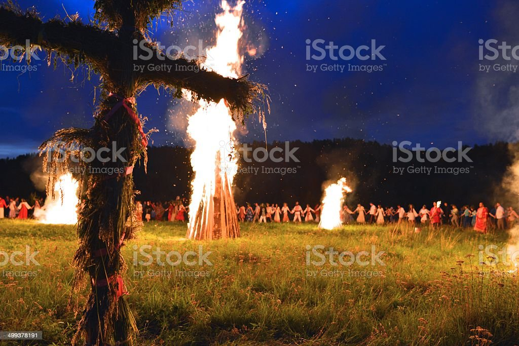 Ritual fire worship stock photo