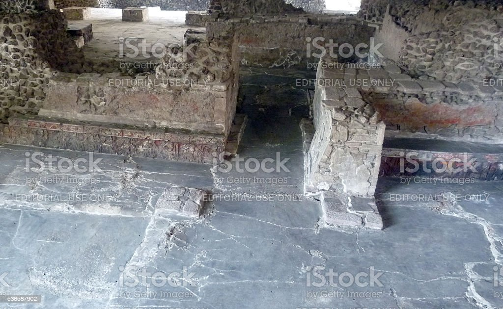 Ritualistic chamber in the Great Temple in Mexico City stock photo