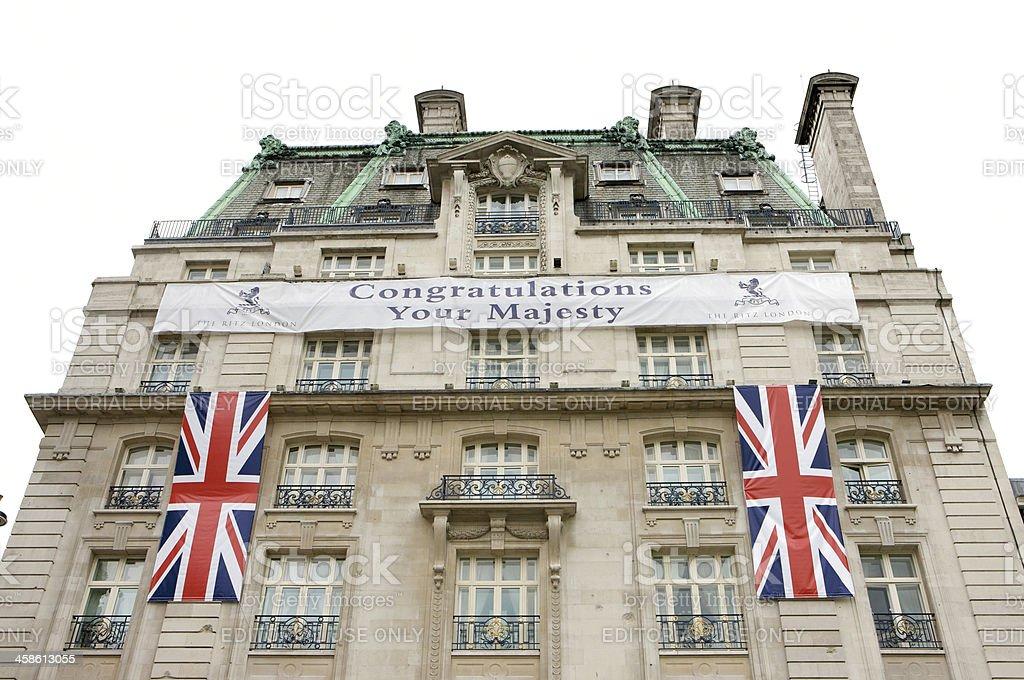 Ritz Hotel congratulating the Queen on her Diamond Jubilee stock photo