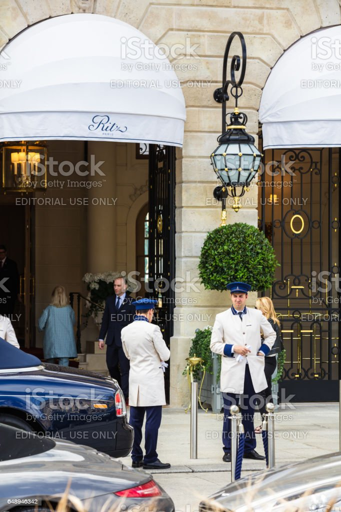 Ritz Paris hotel on Place Vendome. stock photo