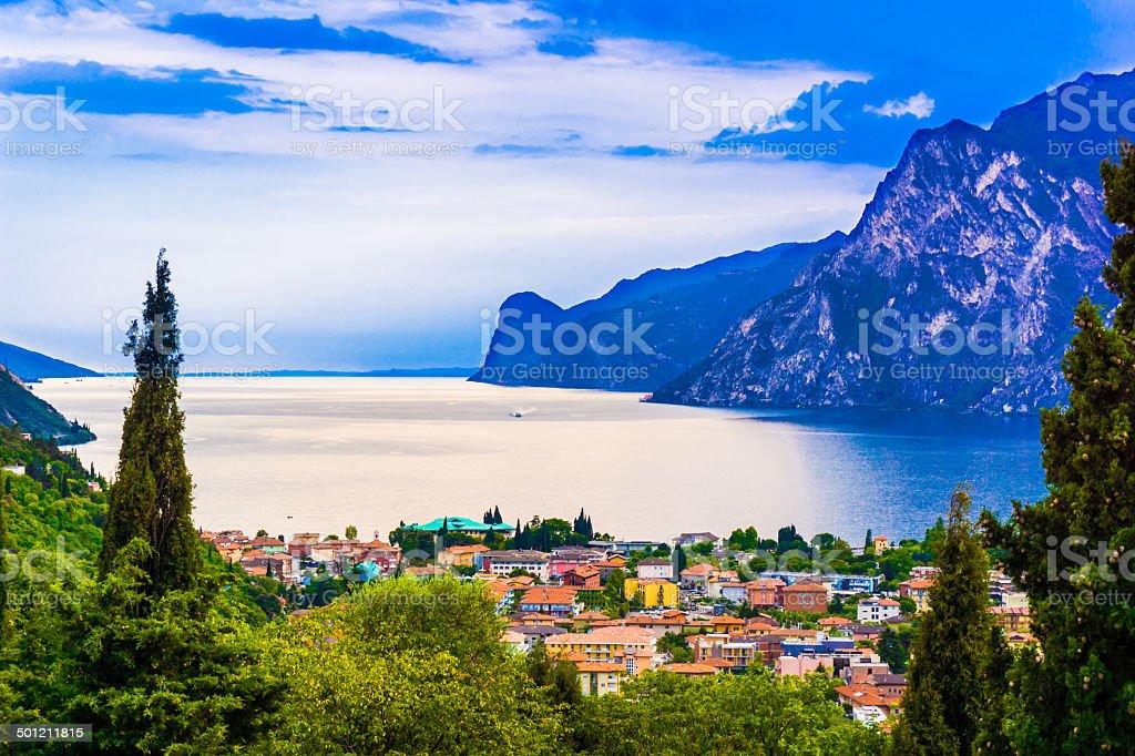 riva del garda.  Mountain lake Lago di Garda stock photo