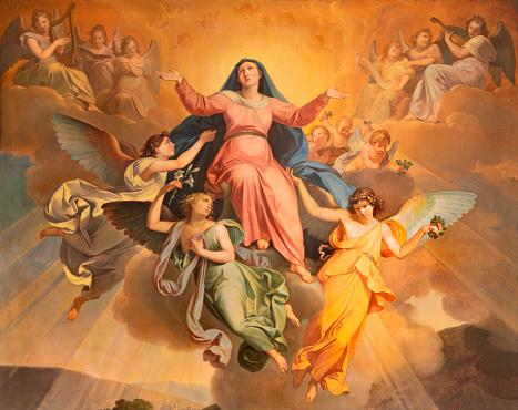 Riva del Garda - The part of the painting Assumption in church Chiesa di Santa Maria Assunta by Giuseppe Craffonara (1830).