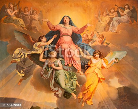 istock Riva del Garda - The part of the painting Assumption in church Chiesa di Santa Maria Assunta by Giuseppe Craffonara (1830). 1277305839