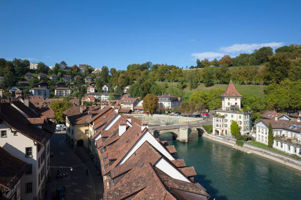 River Aare flows through the old town of Bern. This travel destination is one of the many tourist attractions in Switzerland.