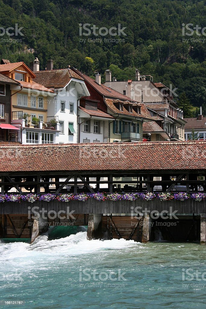 River Aare in front of Thun, Switzerland stock photo