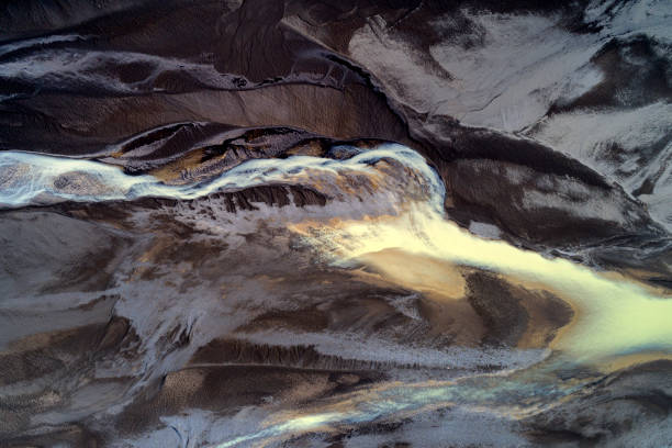 River Abstract From Above in Iceland stock photo