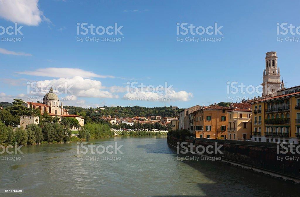 River Adige view in Verona stock photo