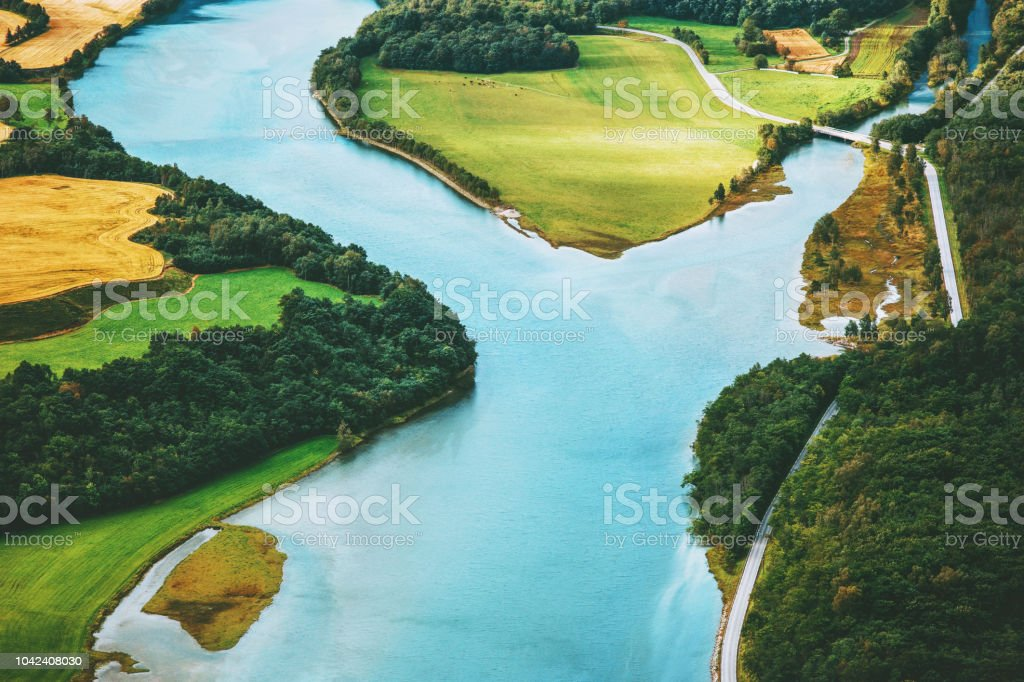 River aerial view rural Landscape in Norway nature ecology concept