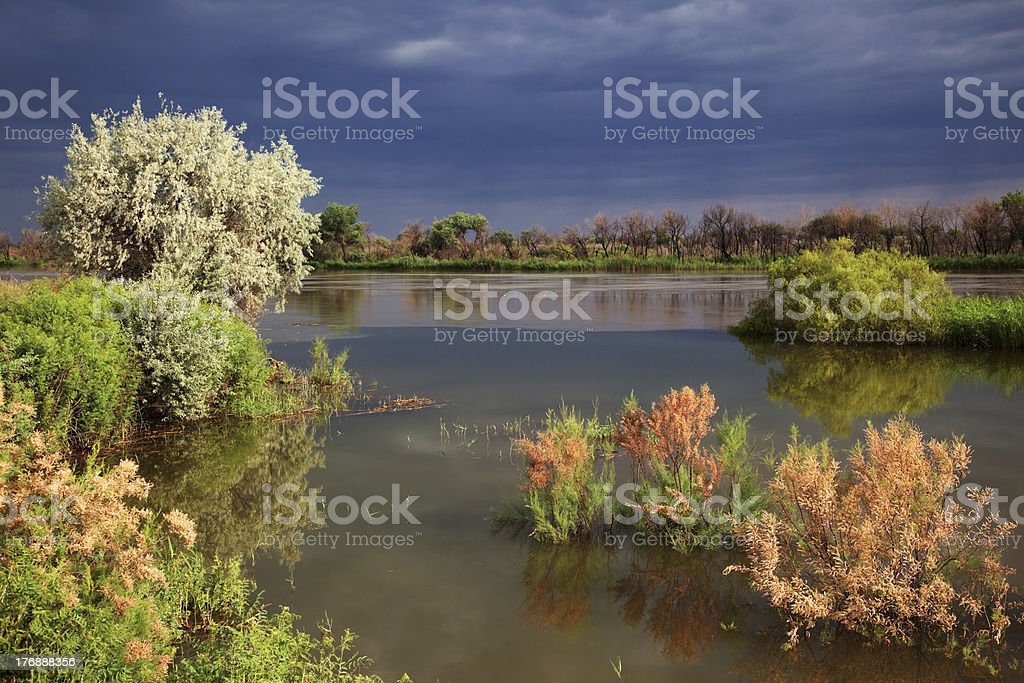 River after storm stock photo