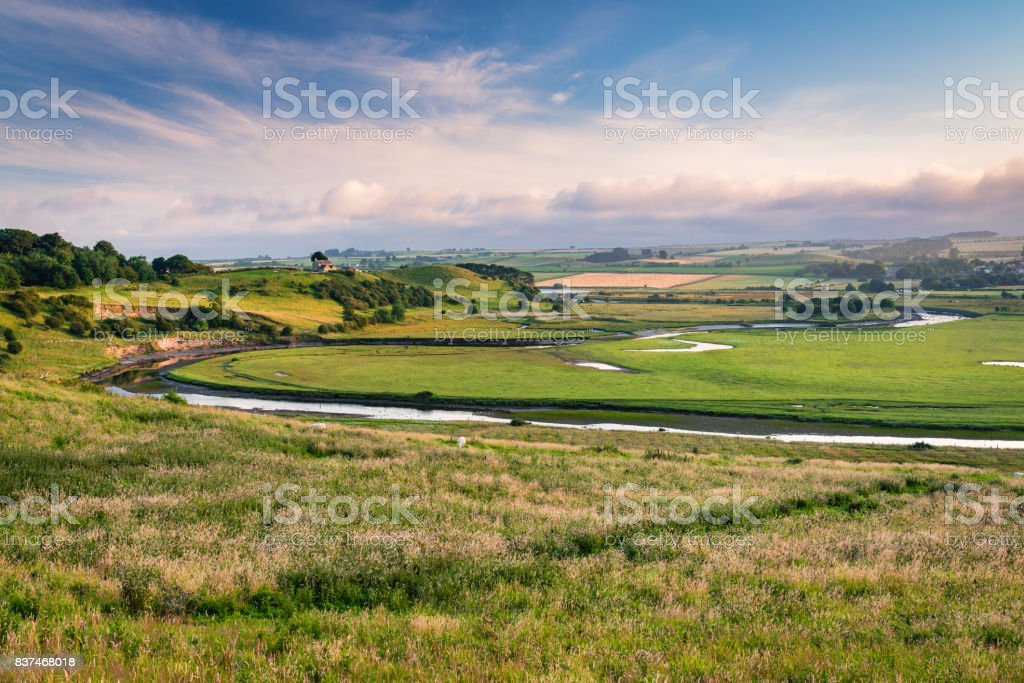 River Aln Meanders past Mount Pleasant stock photo