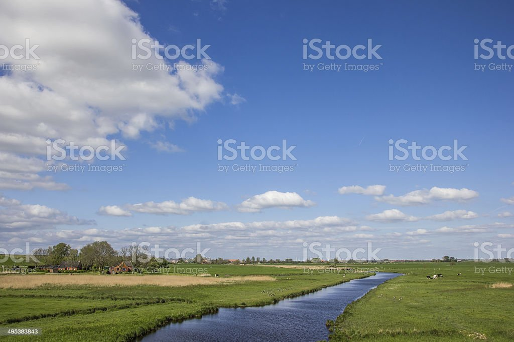 River along the dollard route in Ostfriesland stock photo
