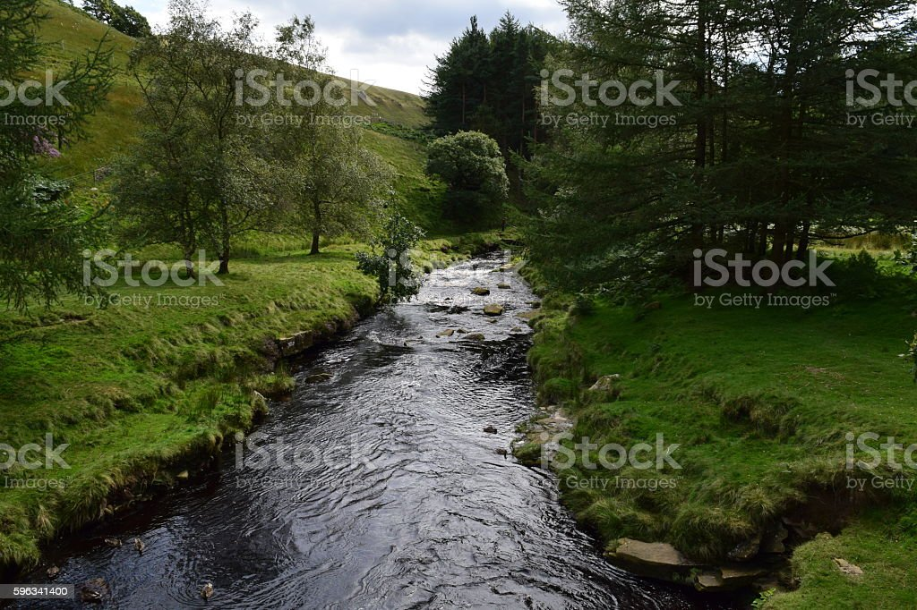 River amongst trees and hills royalty-free stock photo
