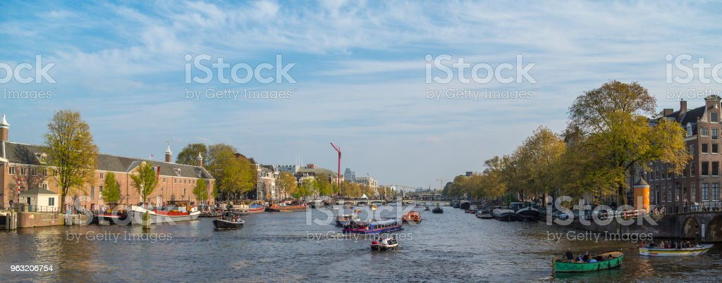 River Amstel and Amsterdam view. stock photo