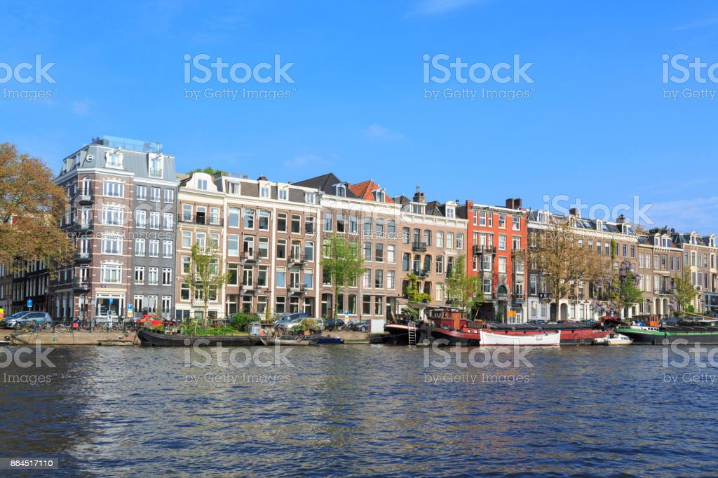River Amstel in Amsterdam. stock photo
