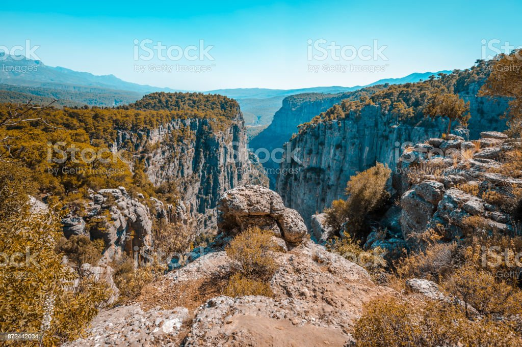 River and big rocks with Tazi Canyon, Antalya stock photo