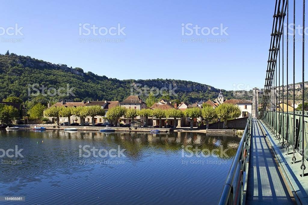 River and bridge, Cajarc in the Lot Valley, Quercy, France stock photo