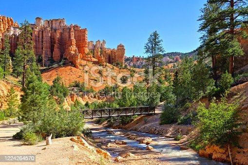 River and bridge among the hoodoos at Mossy Cave Trail, Bryce Canyon National Park, Utah, USA