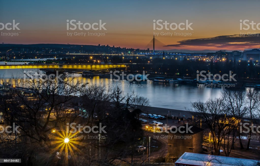 River and bridges in Belgrade by night royalty-free stock photo