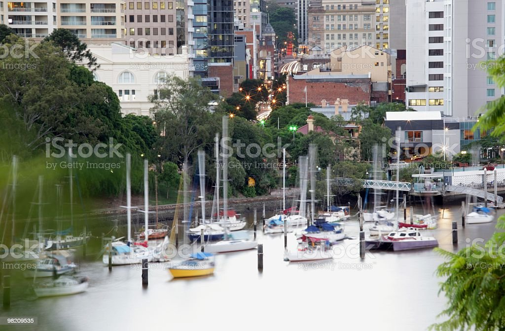 River and city at dusk royalty-free stock photo