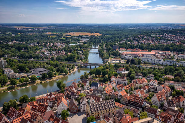 River and city Houses and river in the city of Ulm, Germany. View from the top of Ulm Minster the world's tallest church. ulm stock pictures, royalty-free photos & images