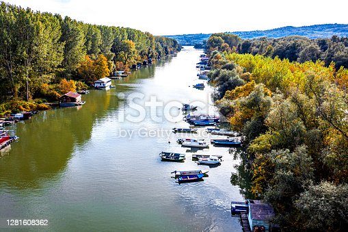 River and fishing boats.Drone photography.