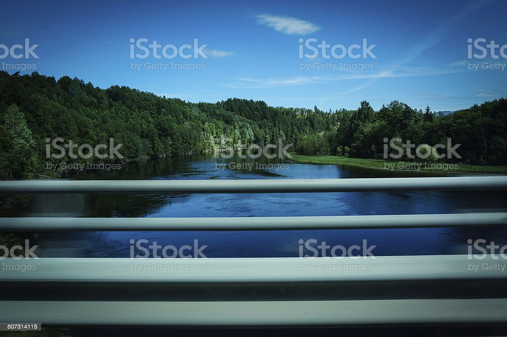 River and forest in beautiful colors royalty-free stock photo