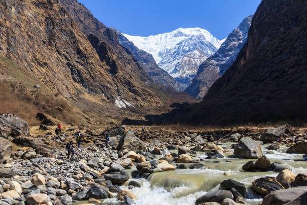 River and Himalaya mountain valley of Annapurna basecamp trekking trail, Nepal stock photo