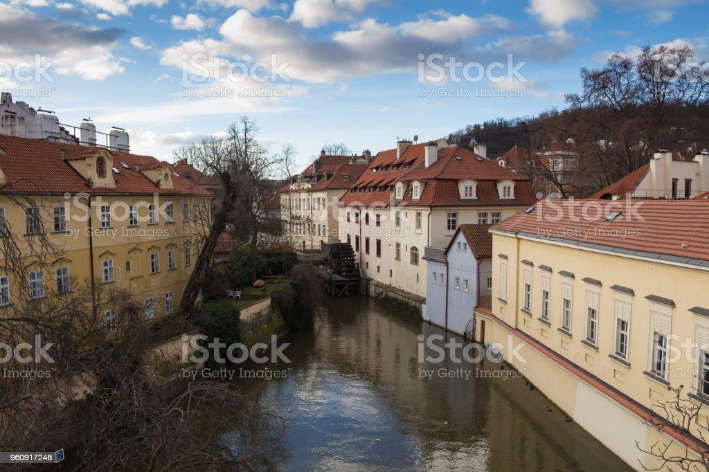 Fluss und Häuser am Kampa, Prag, Tschechische Republik - Lizenzfrei Alt Stock-Foto