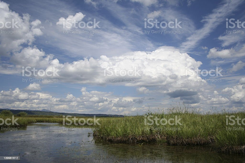 River and Idaho sky at  Harriman Ranch stock photo