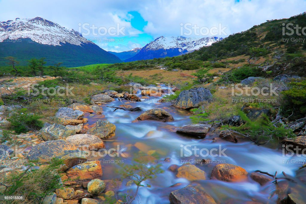 River and Idyllic Andes landscape, Ushuaia - Tierra Del fuego, Argentina stock photo