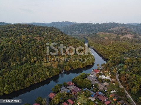 A drone shot of the River and Mangroves Forest, Koh Kood (Koh Kut) island in Thailand