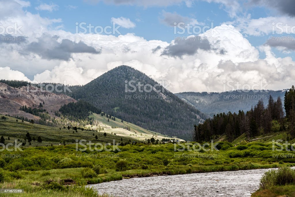 River and Mountain Range of Yellowstone National Park royalty-free stock photo