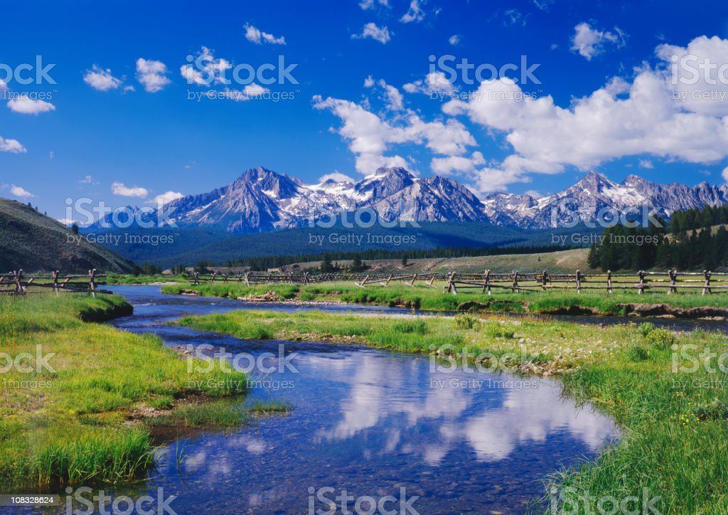 River and mountains in Sawtooth Mountain Range, Idaho stock photo