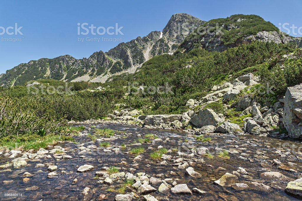 River and Sivrya peak, Pirin Mountain Lizenzfreies stock-foto
