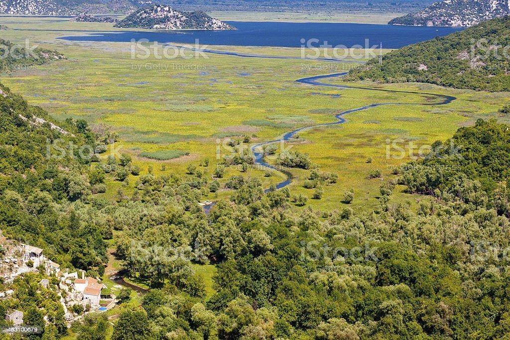 River and Skadarsko lake. Montenegro stock photo